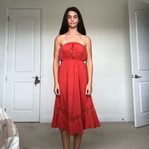 LUSH Orange Strapless Midi Dress